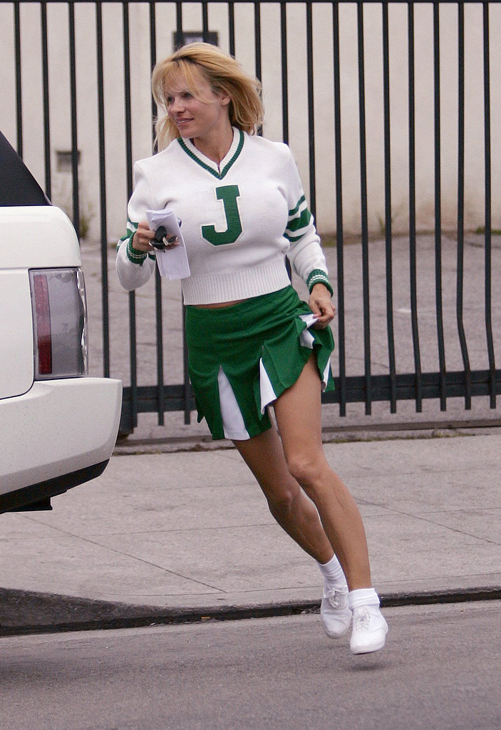 Pamela Anderson sported a green-and-white cheerleader uniform while in LA on St. Patrick's Day in March 2006.