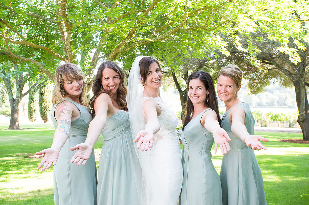 The J.Crew bridesmaid dresses were a similar sage-green color as the flowers.  Source: Juliette Tinnus
