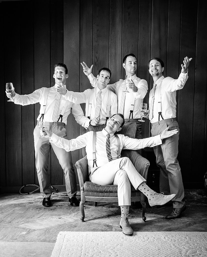 Keeping with the vintage-causal vibe of the wedding, the groomsmen added their own vintage flair with suspenders. Most of the guests arrived in deco-esque dresses, straw hats, and oxfords. Photo courtesy of Juliette Tinnus