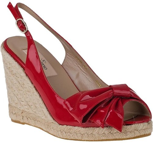 VALENTINO Mena Wedge Espadrille Red Patent Leather