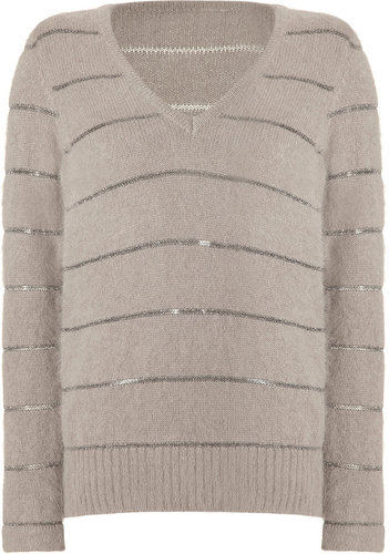See by Chloé Pebble Grey Lurex Stripe Sweater