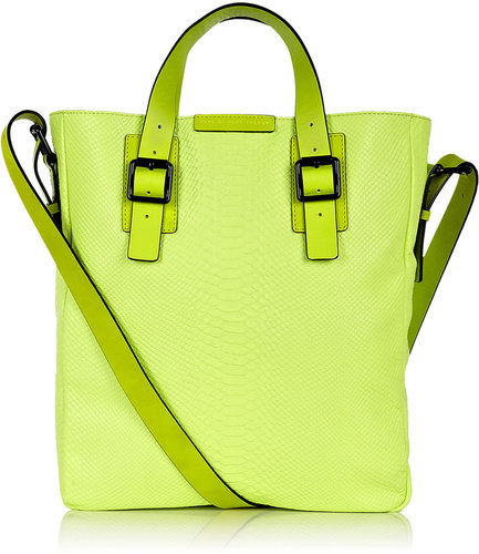 Marc by Marc Jacobs Neon Yellow Python Print Leather City Tote