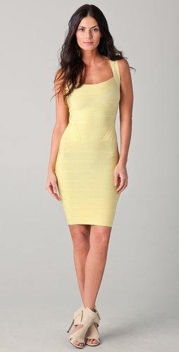 Herve Leger Square Neck Dress