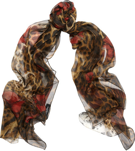 Yves Saint Laurent Leopard and poppy-print silk scarf
