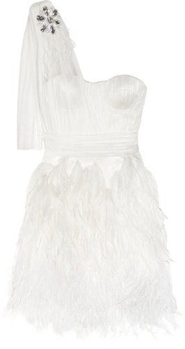 Matthew Williamson Feather-trimmed silk-tulle dress