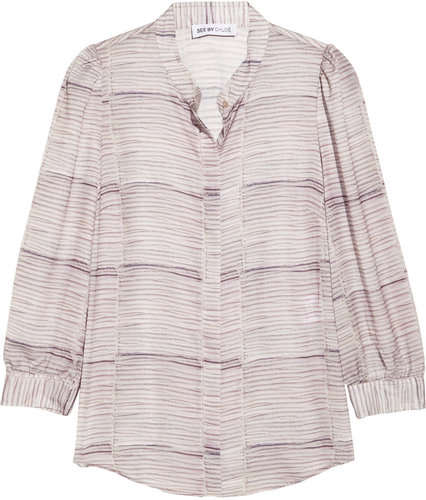 See by Chloé Printed crepe de chine blouse