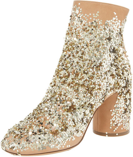 Maison Martin Margiela Sequin-Splashed Leather Bootie