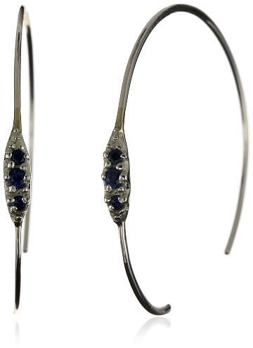 Shaesby &quot;Flamenco&quot; Sterling Silver Blue Sapphire Tiny Bling Hoop Earrings
