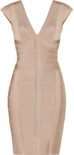Herv Lger Adobe V-Neck Bandage Dress