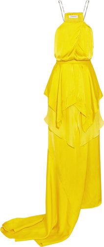 Julien Macdonald Empire layered silk-satin and chiffon gown
