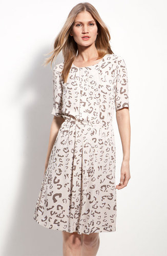 BCBGMAXAZRIA Pleat Front Animal Print Dress