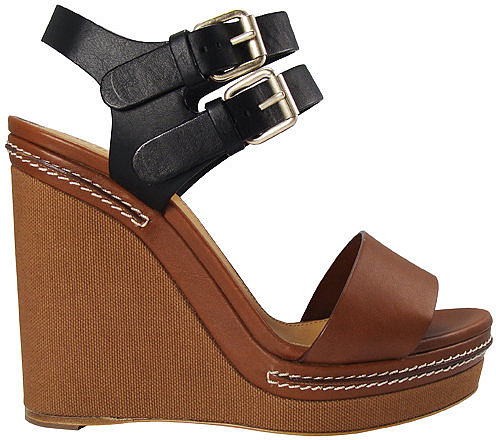 Chlo Canvas Wedge Leather Sandal