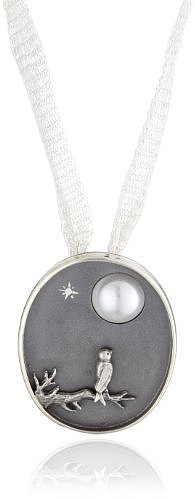 BORA Bird and Moon Simulated Pearl Pendant
