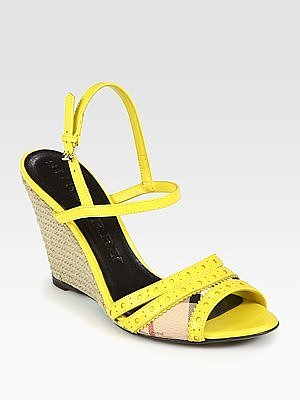 Leather Slingback Espadrille Wedge Sandals