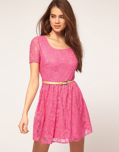 Rare Lace Cap Sleeve Skater Dress