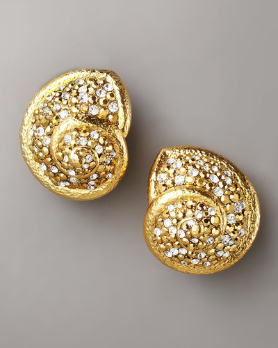 Jose & Maria Barrera Pave Seashell Clip Earrings