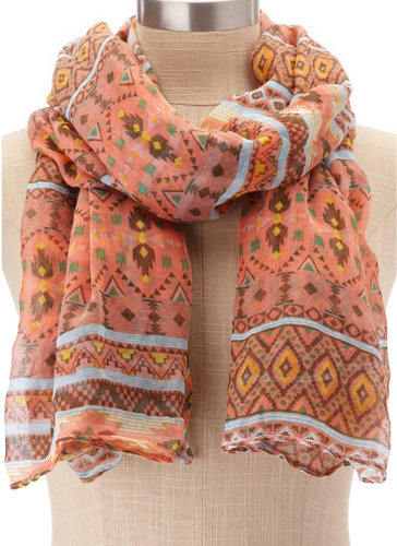 Lightweight Peach Tribal Scarf