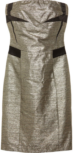 See by Chloé Strapless metallic cotton-blend dress