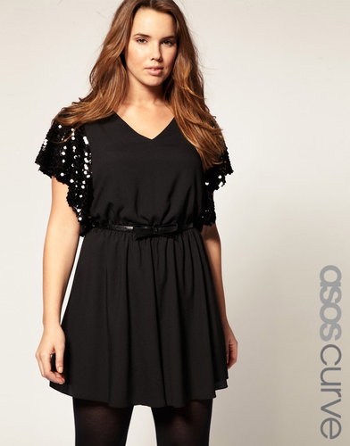 ASOS CURVE Exclusive Playsuit With Sequin Sleeves