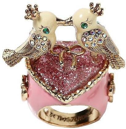Betsey Johnson Love Birds Heart Ring