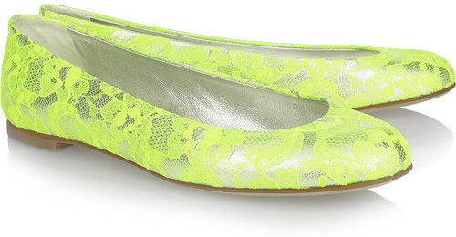 Giuseppe Zanotti Neon lace-covered metallic leather ballet flats