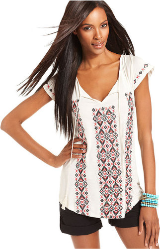INC International Concepts Top, Cap-Sleeve Embroidered Tunic