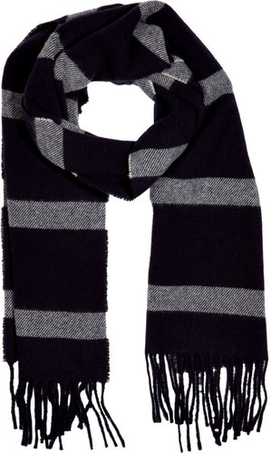 Jil Sander Black/Grey Wool Scarf