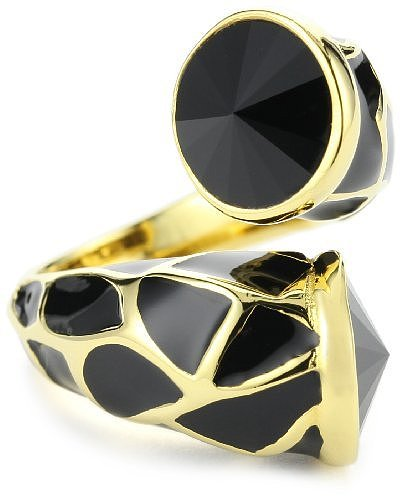 Joanna Laura Constantine Black Adjustable Animal Print Ring