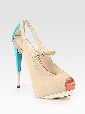 Suede Colorblock Peep Toe Platform Pumps