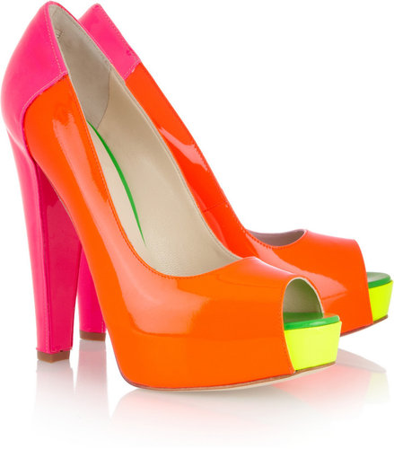 Brian Atwood Alima neon patent-leather pumps