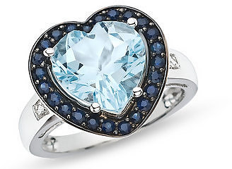 4 1/2 Carat Blue Topaz, Sapphire and Diamond 10K White Gold Ring