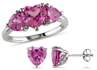 8 3/4 Carat Created Pink Sapphire Sterling Silver Ring and Earrings Set