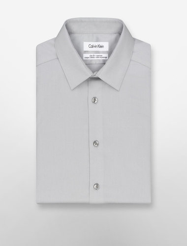 Steel Slim Fit Non-Iron Solid Poplin Dress Shirt