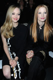 Amanda Seyfried and Jessica Chastain were front row neighbours at Givenchy.