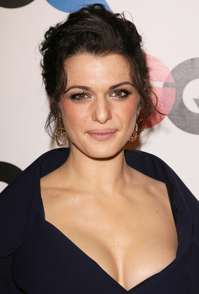 Hitting up the festivities for GQ Celebrates 2005 Men of the Year, Rachel went for a sexier style with a messy updo, sultry eye makeup, and a plunging neckline.