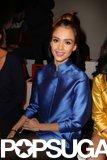 Jessica Alba wore a bright blue kimono to the Shiatzy Chen show in Paris in March.