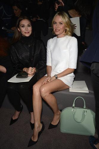 Naomi Watts took a seat next to Elizabeth Olsen at Louis Vuitton during Paris Fashion Week in March.