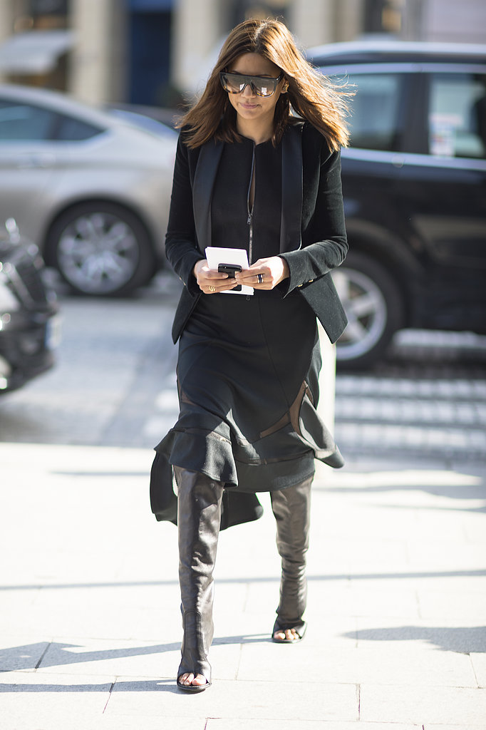 Christine Centenera made the rounds in an ultrasleek black, flared skirt and serious footwear. Source: Le 21ème | Adam Katz Sinding