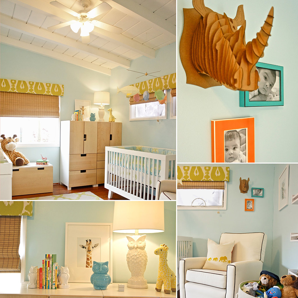 A Serene but Playful Light Blue and Lime Green Nursery
