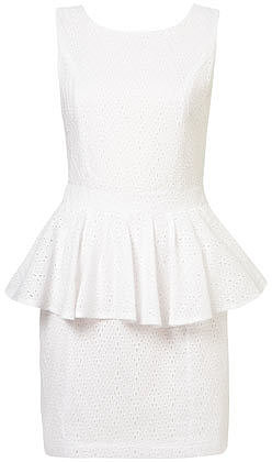 **Broderie Anglaise Peplum Dress by Rare