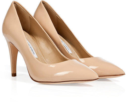 Diane von Furstenberg Nude Patent Leather Anette Pumps