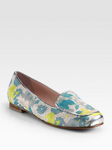 Opening Ceremony Floral Jacquard & Metallic Leather Smoking Slippers