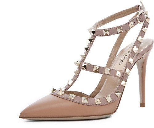Valentino Rockstud Nappa Leather Sling Back T.100 in Hazelnut & Nude & Platinum