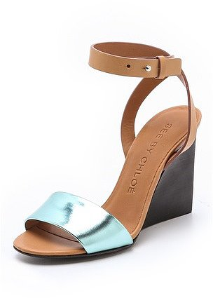 See by chloe Metallic Wedge Sandals