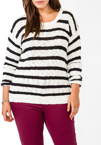 FOREVER 21+ Textured Striped Sweater