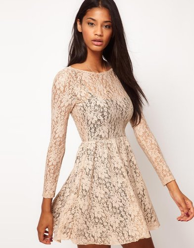 Motel Scoop Back Sequin Lace Skater Dress