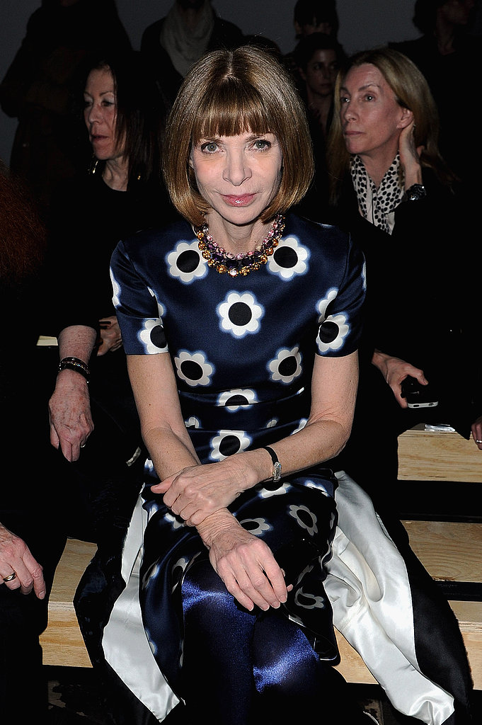 Anna Wintour took her front row place at Saint Laurent.