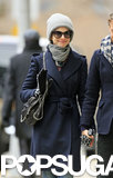 Anne smiled while strolling in NYC with her husband.
