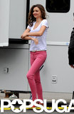 Miranda Kerr Goes Casual Filming a New Ad