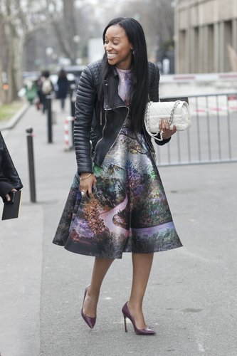 Shiona Turini took a gorgeous fit-and-flare for a spin, edged up with a quilted moto jacket.